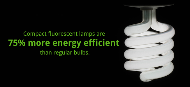Compace fluorescent lamps are 75% more energy efficient than regular bulbs