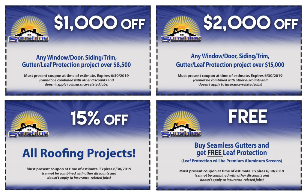 Sunshine Contracting 2019 Coupons - June 2019