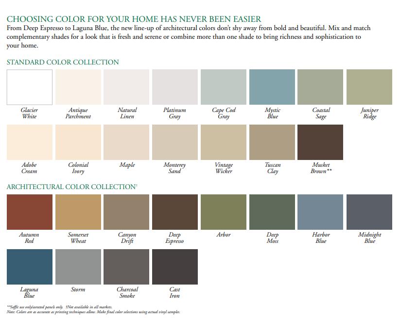 Charter Oak Soffit Colors