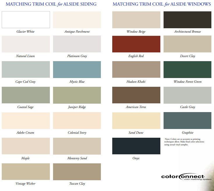 G8 Trim Coil Colors for Siding and Windows