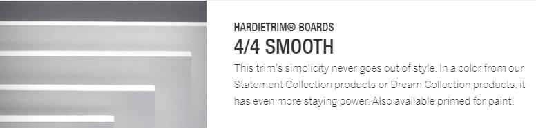 HardieTrim Boards 4-4 Smooth