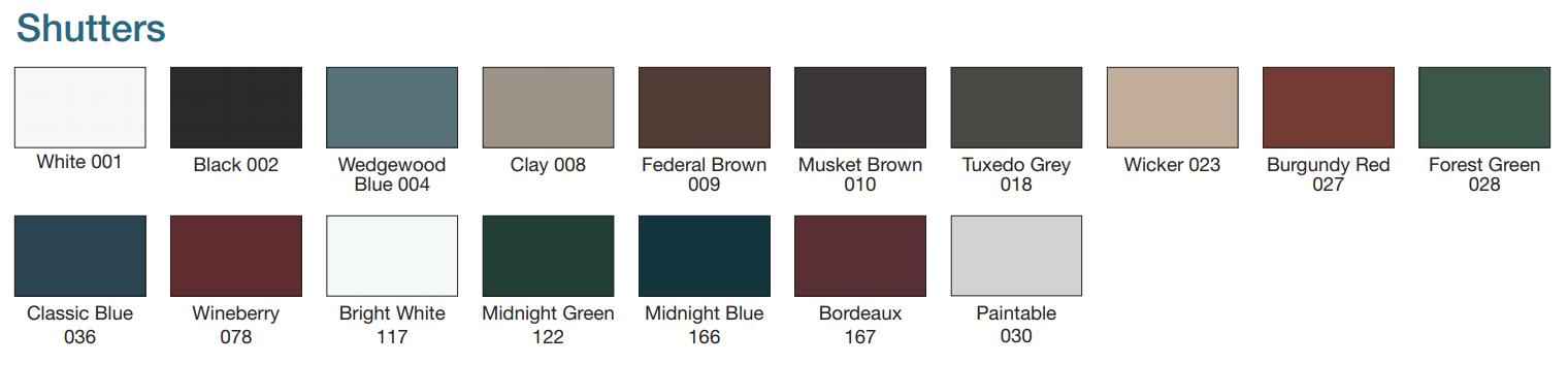 Mid America Shutter Colors
